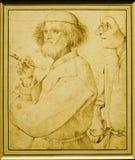 Pieter BRUEGEL Ouder: ` De Schilder en de Koper ` Stock Foto