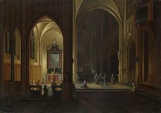 Pieter Neeffs the Elder and Bonaventura Peeters the Elder - An Evening Service in a Church royalty free stock photo