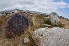 Pietra con il petroglifo tribale neolitico, descrivente stambecco, Cholpon Ata, riva del lago Issyk-Kul, Kirghizistan, Asia centr fotografia stock libera da diritti