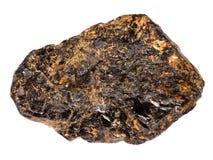 Pietra del minerale metallifero della latta del Cassiterite isolata su bianco fotografia stock