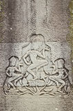 Pietra di Apsaras che intaglia in Angkor Wat Fotografia Stock