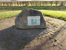 Pietra di commemorazione di battaglia del ponte di Stamford fotografia stock
