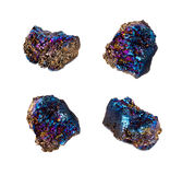 Pietra di titanio tagliente estrema del mazzo del cristallo di quarzo di aura dell'arcobaleno fotografia stock libera da diritti