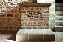 Pietra guasto dell'abbazia del Saint Michel di Mont Fotografie Stock