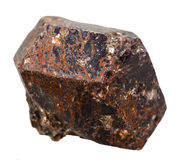 Pietra minerale del Dravite della tormalina isolata su bianco Fotografia Stock