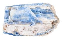 Pietra naturale della cianite isolata su bianco Immagine Stock Libera da Diritti