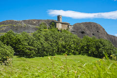 Pietra Perduca With Sant'Anna church in Val Tebbia, Piacenza, It Royalty Free Stock Images