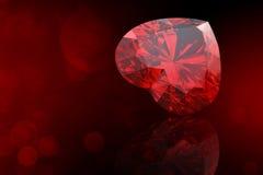 Pietra preziosa di forma del cuore. Collezioni di gemme dei gioielli sul nero illustrazione di stock