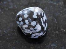 pietra preziosa lucidata dell'ossidiana del fiocco di neve su buio Fotografie Stock Libere da Diritti