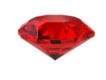 Pietra preziosa rosso scuro isolata su bianco Fotografia Stock