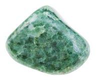 Pietra preziosa verde lucidata della giadeite isolata Fotografie Stock