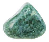 Pietra preziosa verde ruzzolata della giadeite isolata Immagine Stock