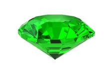 Pietra preziosa verde scuro isolata su bianco Immagine Stock