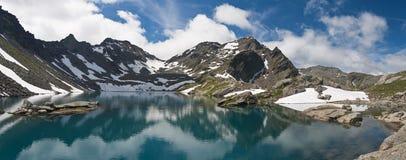 Pietra Rossa lake panorama stock photo