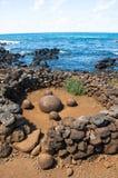 Pietra rotonda magnetica in Te Pito Kura, isola di pasqua, Cile Fotografie Stock Libere da Diritti