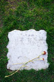 Pietra tombale in bianco con il fiore Fotografia Stock Libera da Diritti