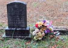 Pietra tombale con i fiori Fotografia Stock Libera da Diritti