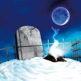 Pietra tombale con la luna Fotografia Stock