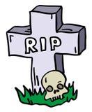 Pietra tombale di Doodle con il cranio illustrazione vettoriale