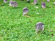 Pietra tombale ordinata sull'erba Immagine Stock