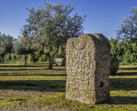 Pietra tombale romana antica Fotografia Stock