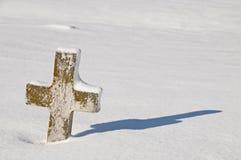 Pietra tombale trasversale del lichene Immagine Stock
