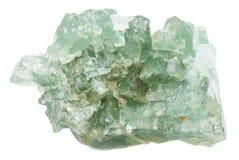 Pietra verde cruda della fluorite isolata Fotografie Stock Libere da Diritti