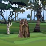Pietra verticale tirata in un parco con gli alberi tropicali fotografie stock libere da diritti
