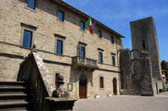 Pietralunga city hall and lombard castle in Umbria. The main square of a typical umbrian town Royalty Free Stock Image