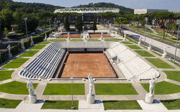 Tennis Stadium. Surrounded by statues recalling sport and war. Foro Italico, Rome, Italy Stock Photo