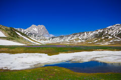 Pietranzoni lake at Campo Imperatore, Abruzzo Royalty Free Stock Image