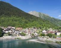 Pietraporzio (Cuneo, Italy). Pietraporzio (Valle di Demonte, Cuneo, Piedmont, Italy): the village in the Italian Alps at june Stock Image