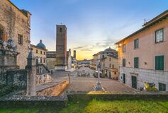 Free Pietrasanta Old Town View At Sunset, Versilia Lucca Tuscany Italy Stock Image - 169839631