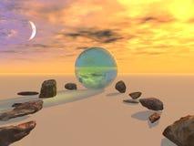 Pietre al globo di cristallo Fotografie Stock Libere da Diritti