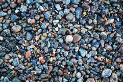 Pietre bagnate multicolori su una spiaggia del mare Fotografia Stock