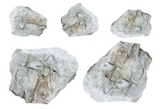 Pietre bianche isolate su fondo bianco Immagini Stock Libere da Diritti