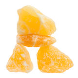 Pietre curative della calcite arancio equilibrata Fotografie Stock