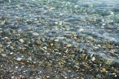 Pietre del ciottolo su una spiaggia sotto acqua immagine stock