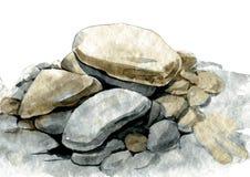 Pietre del mare dell'acquerello Fotografie Stock Libere da Diritti