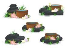 Pietre della stazione termale con il fiore, l'erba, la foglia ed acqua illustrazione di stock