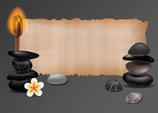 Pietre della stazione termale, fiore e bastone fragrante bruciante Fondo realistico di vettore Illustrazione isolata di vettore M illustrazione di stock