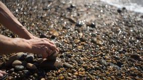 Pietre di Dorking sulla spiaggia Fotografia Stock