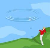 Pietre di lancio del ragazzo nell'acqua illustrazione di stock