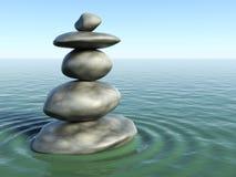 pietre di zen 3d in un'acqua di zen Fotografie Stock