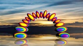 pietre di zen della rappresentazione 3d nei colori dell'arcobaleno Fotografia Stock Libera da Diritti