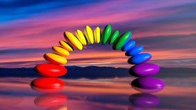 pietre di zen della rappresentazione 3d nei colori dell'arcobaleno Immagine Stock