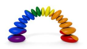 pietre di zen della rappresentazione 3d nei colori dell'arcobaleno Fotografie Stock