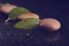 Pietre di zen sul nero con le gocce di acqua Immagine Stock