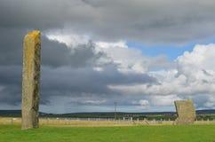 Pietre diritte di Stenness, megaliti neolitiche nell'isola del continente Orkney, Scozia Immagine Stock Libera da Diritti