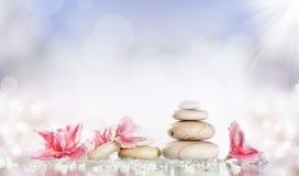 Pietre e fiore bianchi della stazione termale su fondo variopinto Fotografie Stock